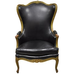 Antique French Louis XV Gold Giltwood Wingback Bergère Lounge Armchair