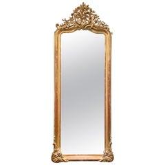 Antique French Louis XV Gold Leaf Beveled Mirror, circa 1870