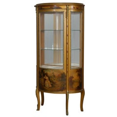 Antique French Louis XV Hand-Painted and Gilt Vernis Martin Display Vitrine