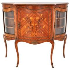 Antique French Louis XV Inlaid Walnut Ormolu Serpentine Display Cabinet Buffet