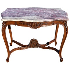 Antique French Louis XV Marble-Top Parlor Side Table