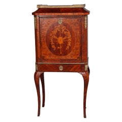 Antique French Louis XV Marquetry Mahogany, Burl and Ormolu Drop-Front Desk
