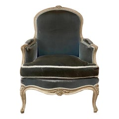 Antique French Louis XV Painted Bergère