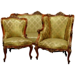 French Louis XV Parcel Gilt Carved Walnut 3-Piece Parlor Set, 19th Century