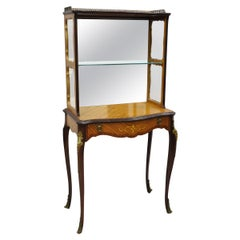 Antique French Louis XV Petite Curio Étagère 1-Drawer Stand with Satinwood Inlay