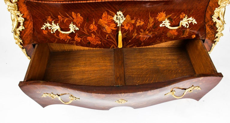 Antique French Louis XV Revival Marquetry Commode Chest 19th C 7