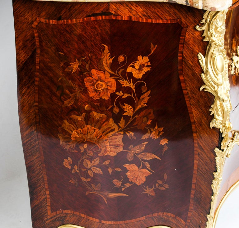 Antique French Louis XV Revival Marquetry Commode Chest 19th C 10