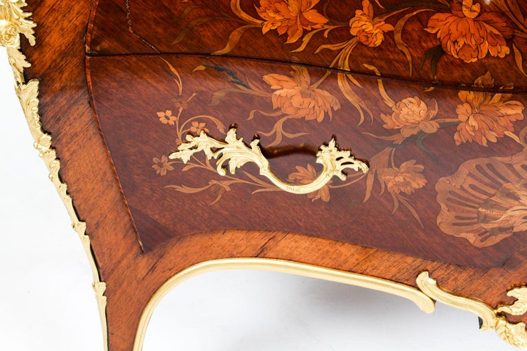 Antique French Louis XV Revival Marquetry Commode Chest 19th C 11