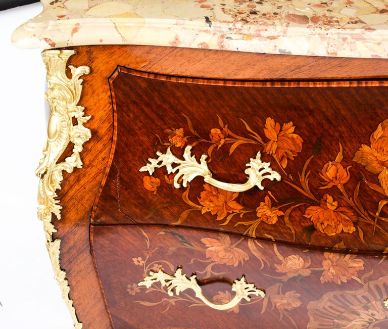 Antique French Louis XV Revival Marquetry Commode Chest 19th C 12