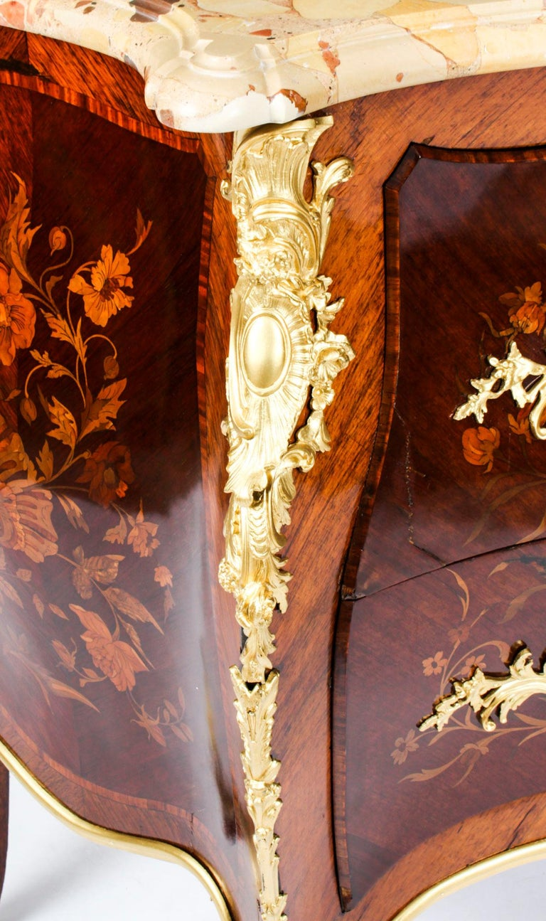 Antique French Louis XV Revival Marquetry Commode Chest 19th C 14