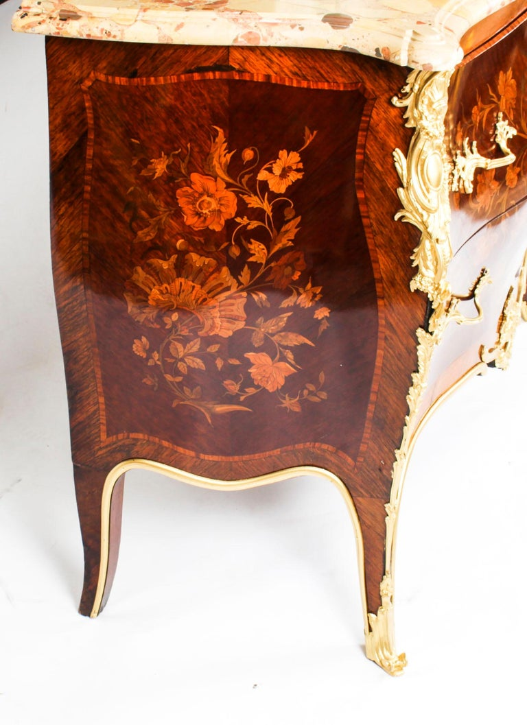 Antique French Louis XV Revival Marquetry Commode Chest 19th C 15