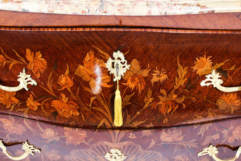 Mid-19th Century Antique French Louis XV Revival Marquetry Commode Chest 19th C