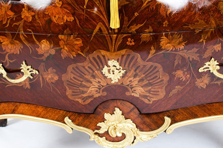 Antique French Louis XV Revival Marquetry Commode Chest 19th C 3