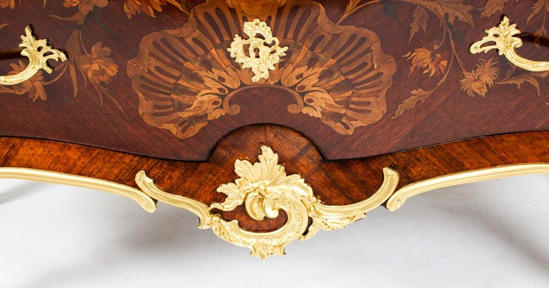 Antique French Louis XV Revival Marquetry Commode Chest 19th C 4