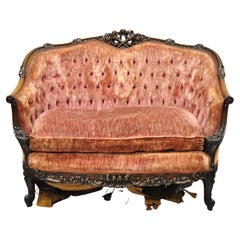 Antique French Louis XV Rococo Style Ornate Carved Mahogany Settee Loveseat Sofa
