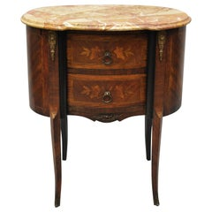 Antique French Louis XV Rogue Marble-Top Floral Inlay Bombe Nightstand Table