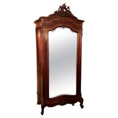 Antique French Louis XV Rosewood & Beveled Mirror Single Door Armoire Circa 1880
