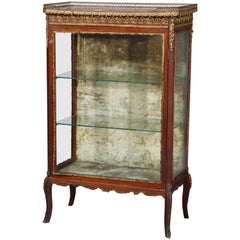 Antique French Louis XV Rosewood, Marble and Bronze Ormolu Display Vitrine