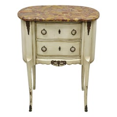 Antique French Louis XV Rouge Marble Top Painted Bombe Nightstand Side Table
