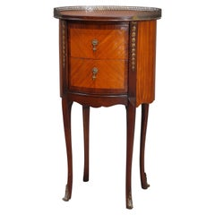 Antique French Louis XV Satinwood Banded & Ormolu Two Drawer Stand, 19th C
