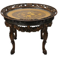 Antique French Louis XV Satinwood Inlay Floral Carved Tray Top Coffee Table