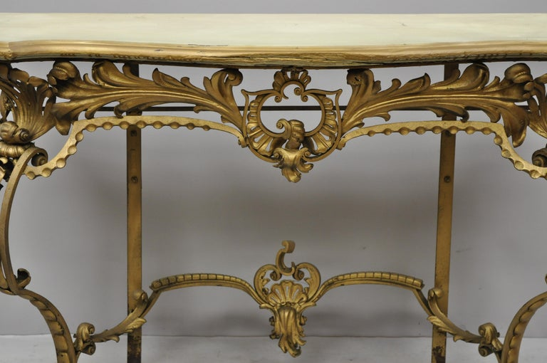 Antique French Louis XV Style Art Nouveau Console Table with Wooden Top In Good Condition For Sale In Philadelphia, PA