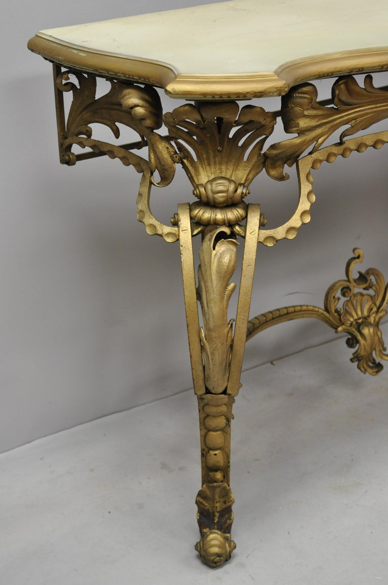 Early 20th Century Antique French Louis XV Style Art Nouveau Console Table with Wooden Top For Sale