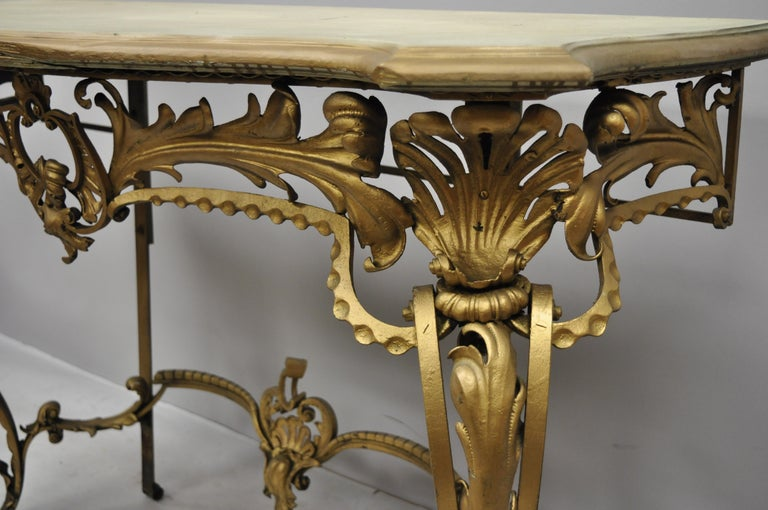 Iron Antique French Louis XV Style Art Nouveau Console Table with Wooden Top For Sale