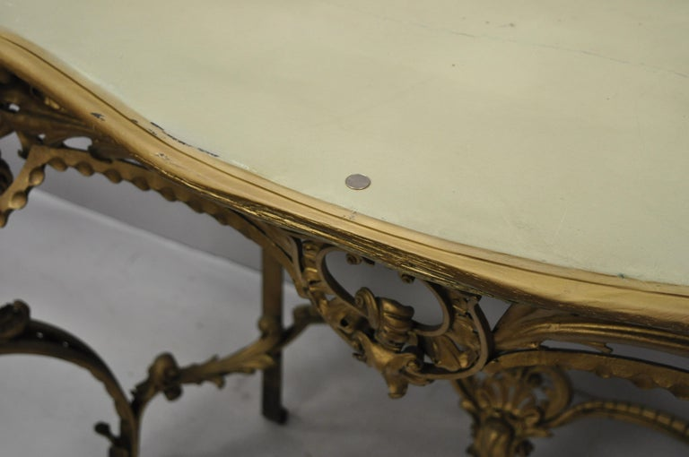 Antique French Louis XV Style Art Nouveau Console Table with Wooden Top For Sale 2