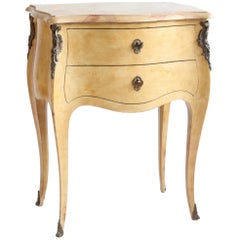 Antique French Louis XV Style Bedside Table or Small Commode in Yellow Ochre