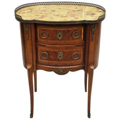 Antique French Louis XV Style Bombe Demilune Marble-Top Nightstand Commode Table