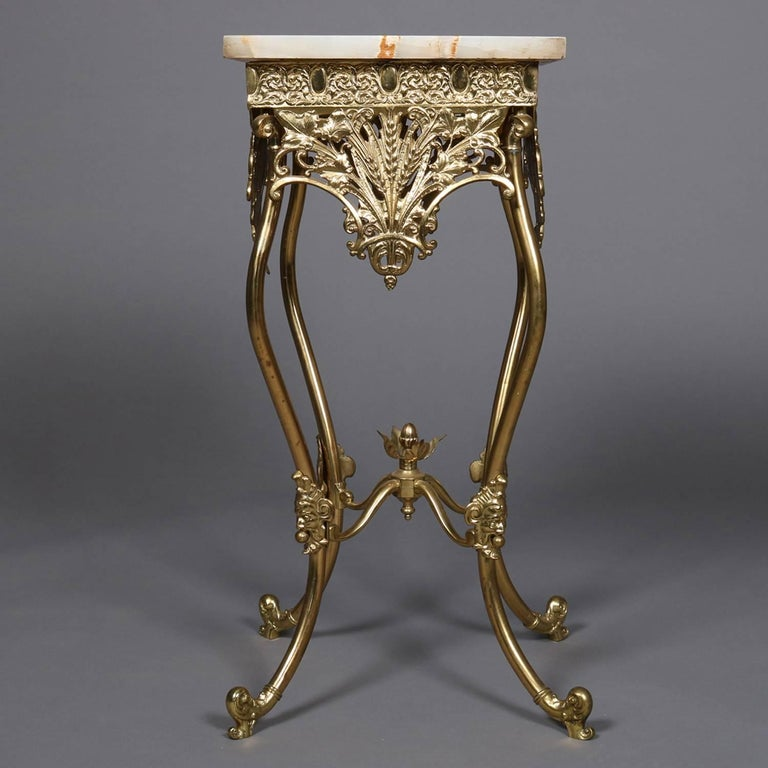 Antique French Louis Xv Style Bronze And Onyx Plant Stand