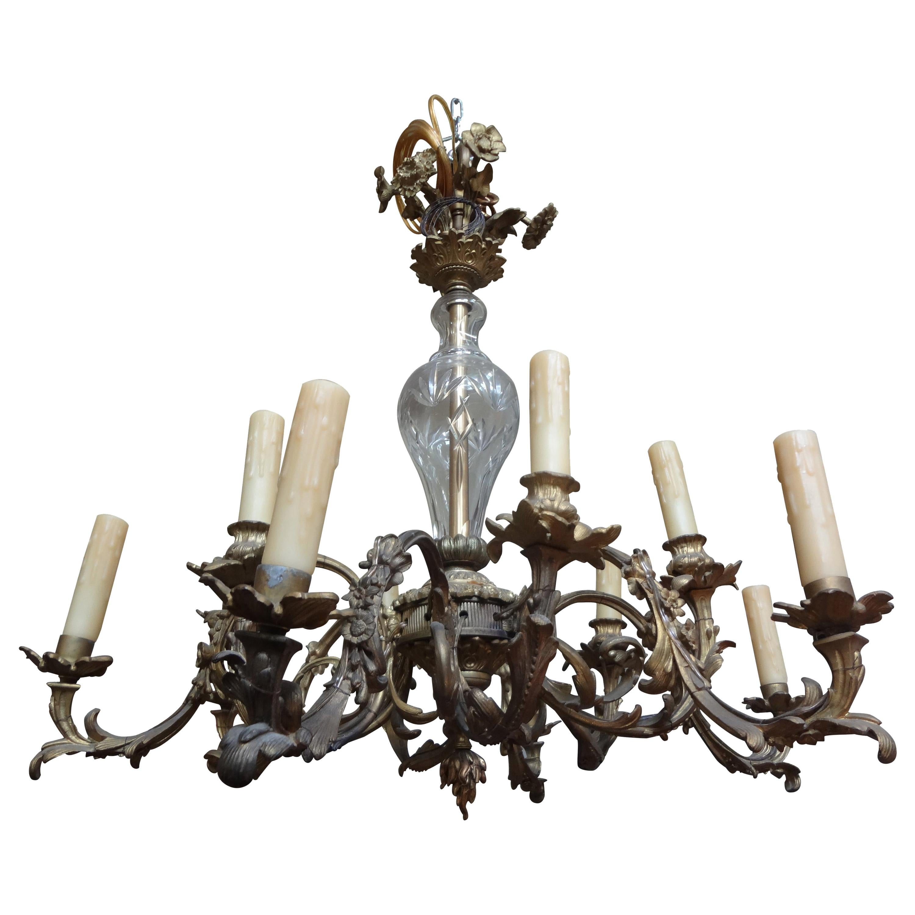 Antique French Louis XV Style Bronze and Crystal Chandelier
