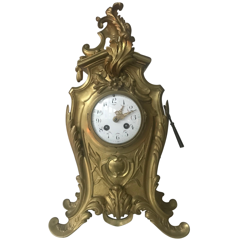 Antique French Louis XV Style Bronze Pendulum Mantel Clock with Flowery Decor