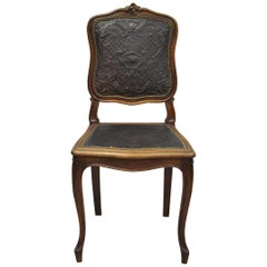 Antique French Louis XV Style Brown Embossed Leather Walnut Dining Side Chair B