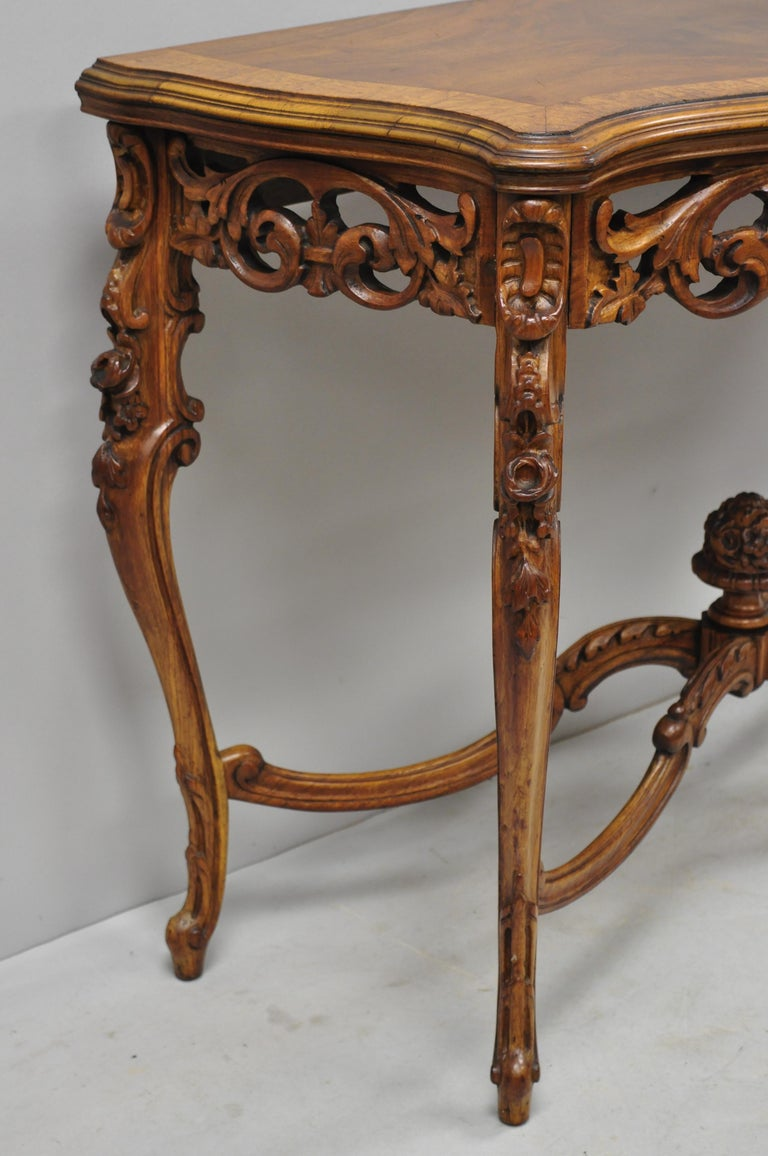 20th Century Antique French Louis XV Style Carved Walnut Banded Top Small Console Hall Table For Sale