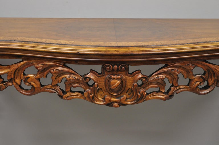 Antique French Louis XV Style Carved Walnut Banded Top Small Console Hall Table For Sale 1