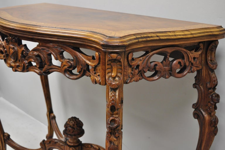Antique French Louis XV Style Carved Walnut Banded Top Small Console Hall Table For Sale 4