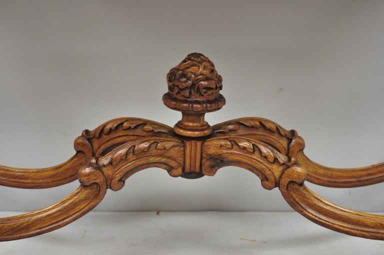 Antique French Louis XV Style Carved Walnut Banded Top Small Console Hall Table For Sale 5