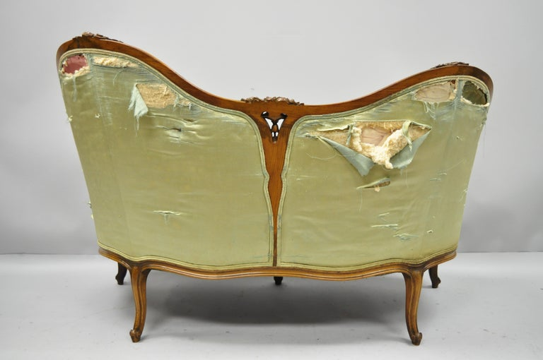 Antique French Louis XV Style Carved Walnut Double Hump Back Settee Loveseat For Sale 7