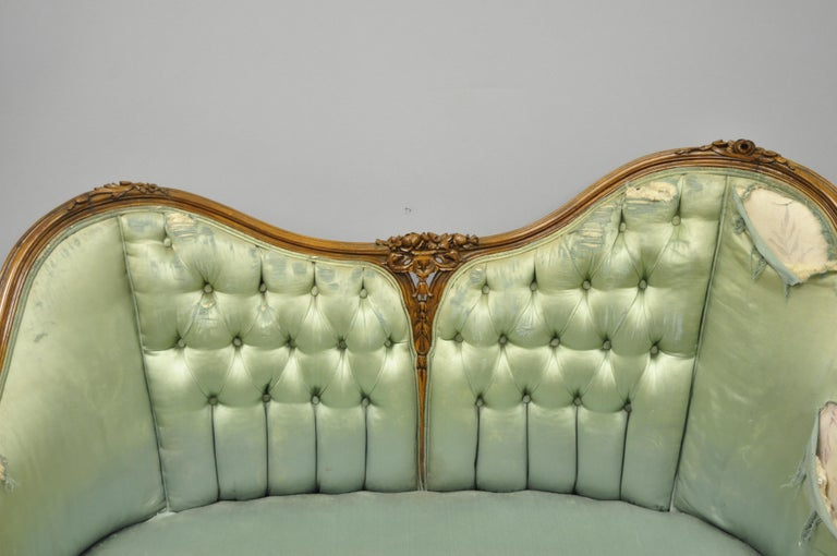 Antique French Louis XV Style Carved Walnut Double Hump Back Settee Loveseat In Good Condition For Sale In Philadelphia, PA