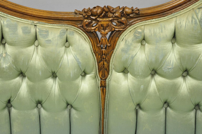 Mid-20th Century Antique French Louis XV Style Carved Walnut Double Hump Back Settee Loveseat For Sale