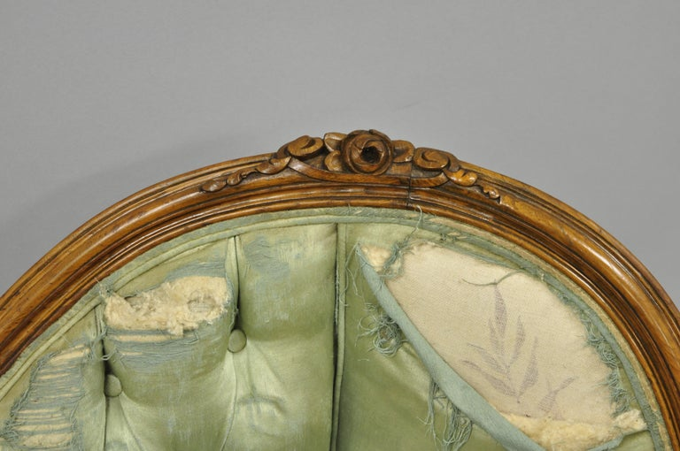 Antique French Louis XV Style Carved Walnut Double Hump Back Settee Loveseat For Sale 1
