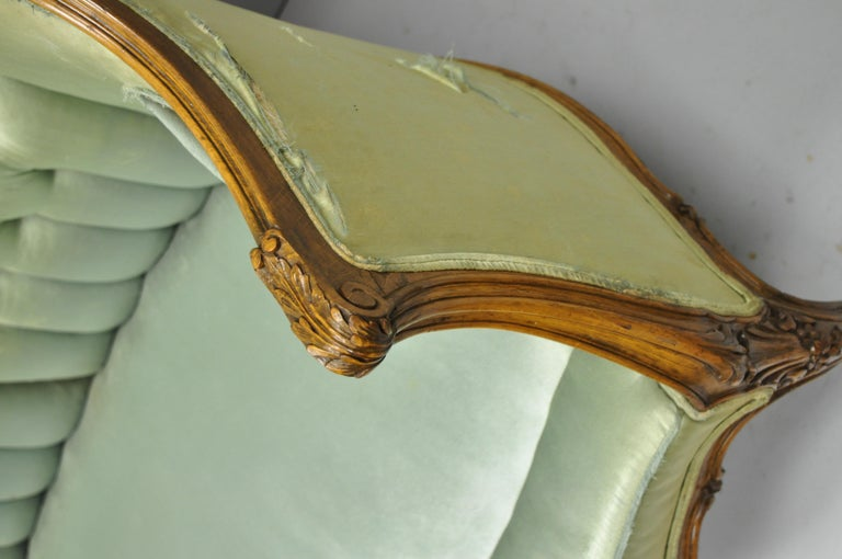 Antique French Louis XV Style Carved Walnut Double Hump Back Settee Loveseat For Sale 2