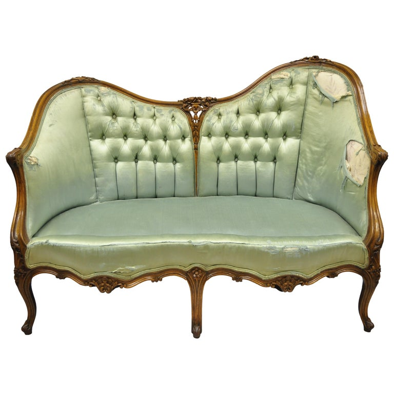 Antique French Louis XV Style Carved Walnut Double Hump Back Settee Loveseat For Sale