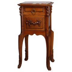 Antique French Louis XV Style Carved Walnut Marble Top Side Table, circa 1900