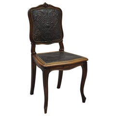 Antique French Louis XV Style Fancy Brown Embossed Leather Walnut Side Chair 'C'
