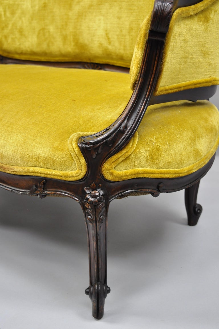 Antique French Louis XV Style Finely Carved Mahogany Settee Loveseat For Sale 1