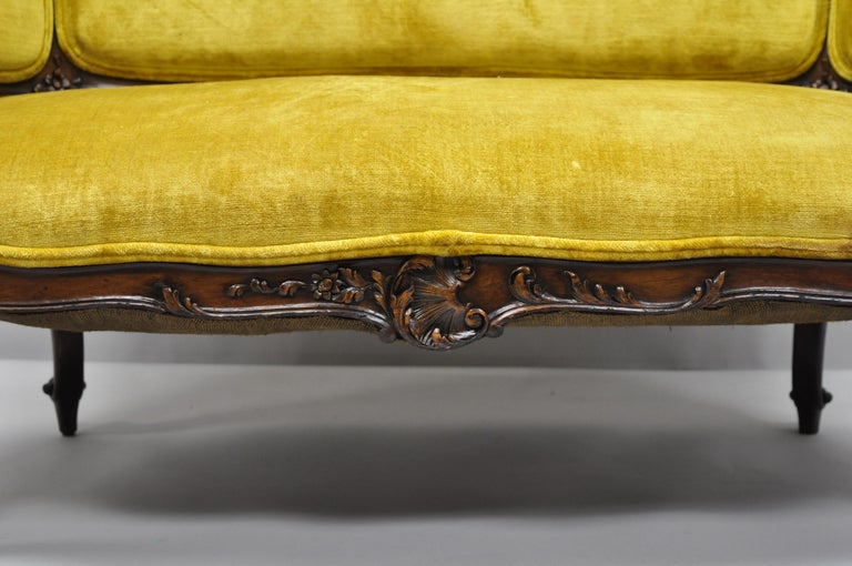 Antique French Louis XV Style Finely Carved Mahogany Settee Loveseat For Sale 2
