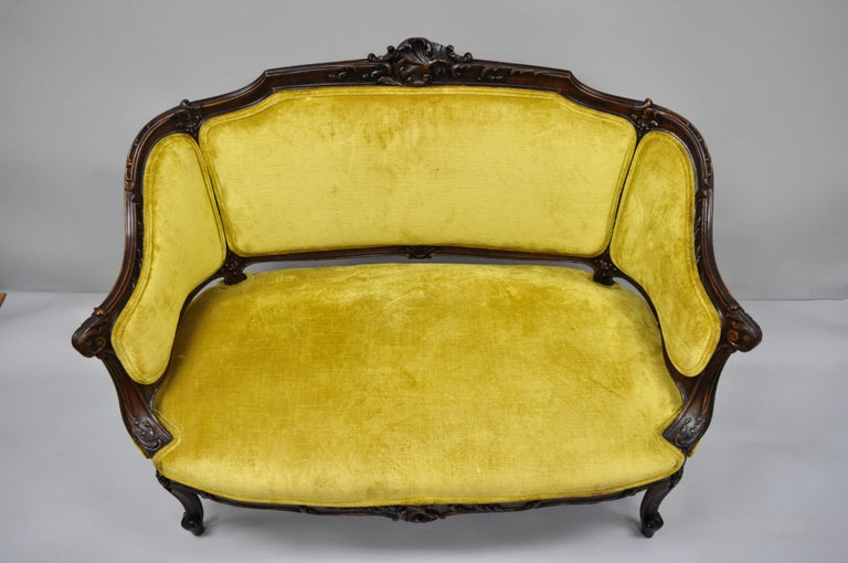 Antique French Louis XV Style Finely Carved Mahogany Settee Loveseat For Sale 3